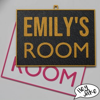 Kids Door Sign Label - Customisable with name or phrase - Hey Jake