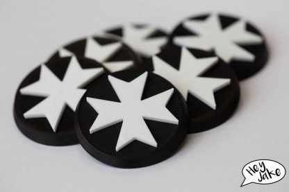 Here's a set of six Warhammer 40K Black Templars Space Marine Objective Markers in 40mm